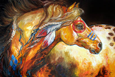 Southwest Painting - Indian War Horse Golden Sun by Marcia Baldwin