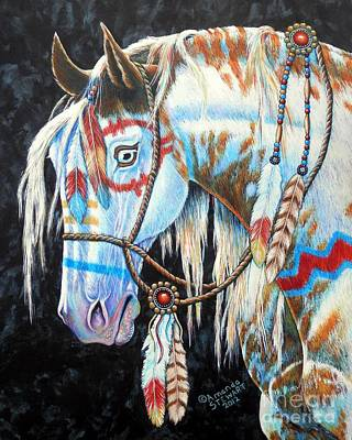 Wild Mustang Painting - Indian War Pony #2 by Amanda Hukill