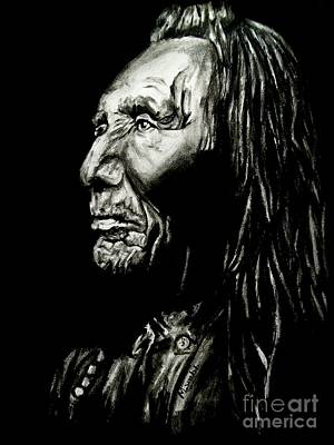Animals Drawings - Indian Warrior by Michael Grubb