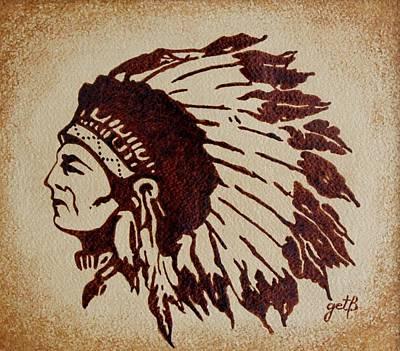 Indian Wise Chief Coffee Painting Art Print by Georgeta  Blanaru