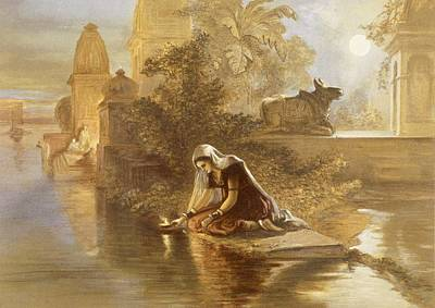 Prayer Drawing - Indian Woman Floating Lamps by William 'Crimea' Simpson