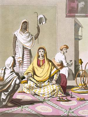 Tradition Drawing - Indian Woman In Her Finery, With Guests by Franz Balthazar Solvyns