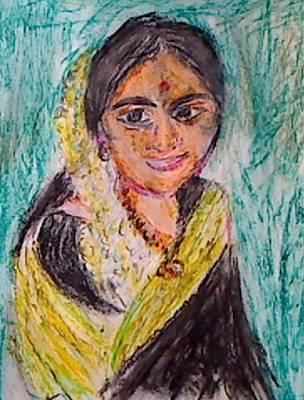Painting - Indian Woman by M bhatt