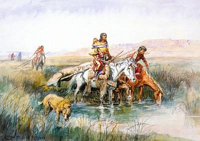 Native American Woman Digital Art - Indian Women Moving Camp by Charles Russell