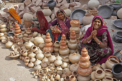 Photograph - Indian Women Selling Pottery by Michele Burgess