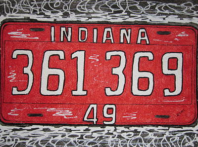 Indiana 1949 License Platee Art Print by Kathy Marrs Chandler