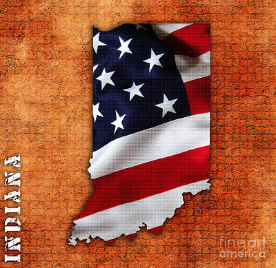 Us Flag Mixed Media - Indiana American Flag State Map by Marvin Blaine