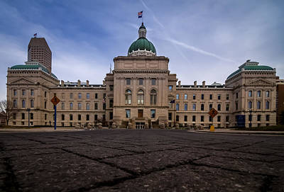 Photograph - Indiana Capital Building - Back by Ron Pate