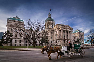 Photograph - Indiana Capital Building - Front With Horse Passing by Ron Pate