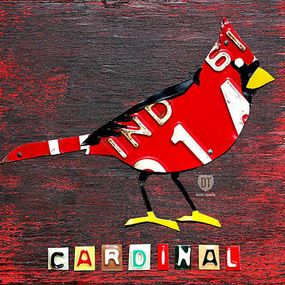 Mixed Media - Indiana Cardinal Bird Recycled Vintage License Plate Art by Design Turnpike