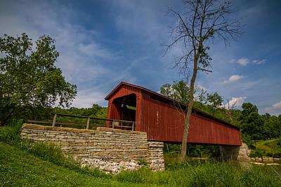 Photograph - Indiana - Cataract Falls Covered Bridge Owen County - Horiz by Ron Pate