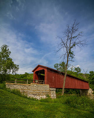 Photograph - Indiana - Cataract Falls Covered Bridge Owen County - Vert by Ron Pate
