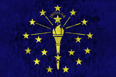 Indiana Flag Art Print by World Art Prints And Designs