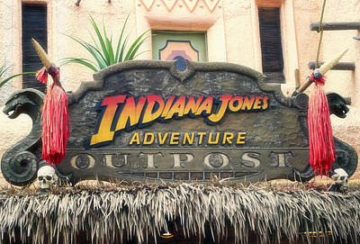 Bobsled Photograph - Indiana Jones Adventureland Signage Disneyland by Thomas Woolworth