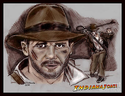 Drawing - Indiana Jones by Chris  DelVecchio