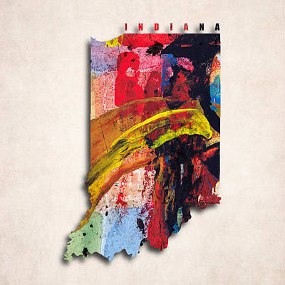 Indiana Map Art - Painted Map Of Indiana Art Print by World Art Prints And Designs