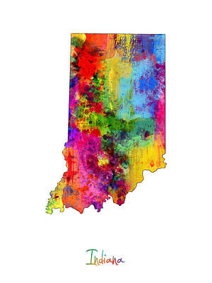 Indiana Map Art Print by Michael Tompsett