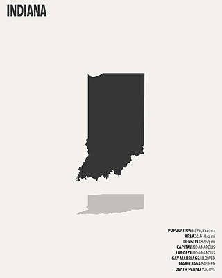 Indiana Minimalist State Map With Stats Art Print by Finlay McNevin
