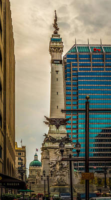Photograph - Indiana - Monument Circle With State Capital Building by Ron Pate