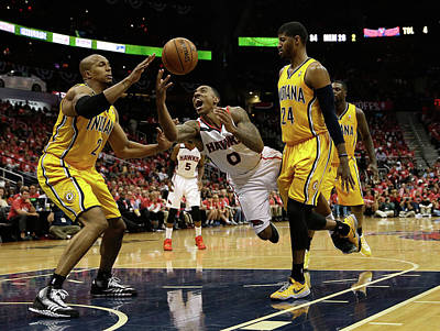 Photograph - Indiana Pacers V Atlanta Hawks - Game by Mike Zarrilli