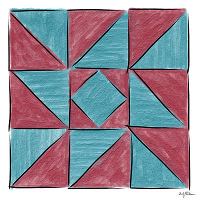 Block Quilts Painting - Indiana Puzzle In Blue And Burgundy by Sandy MacGowan
