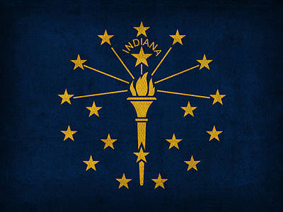 Indiana State Flag Art On Worn Canvas Print by Design Turnpike