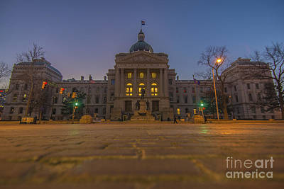 Photograph - Indiana State House Night 2 by David Haskett