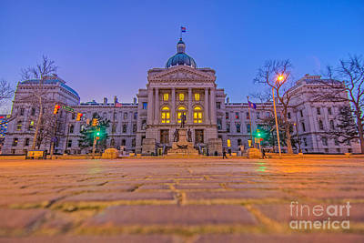 Photograph - Indiana State House Night Hdr by David Haskett