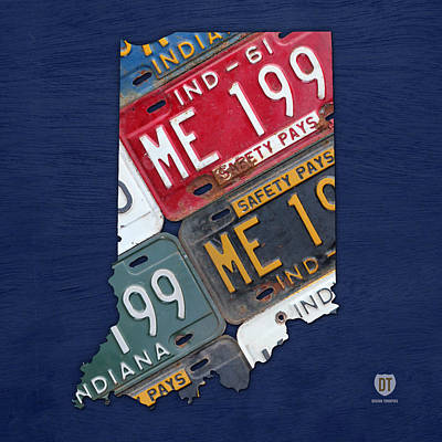 Indiana Art Mixed Media - Indiana State License Plate Map by Design Turnpike