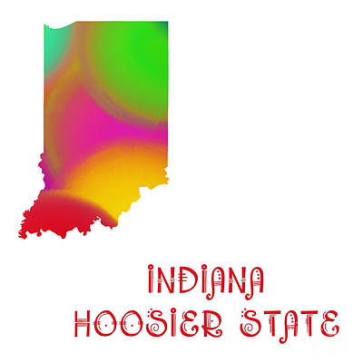 Digital Art - Indiana State Map Collection 2 by Andee Design