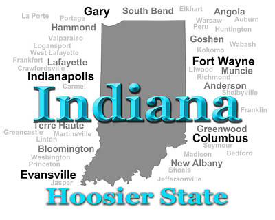 Photograph - Indiana State Pride Map Silhouette  by Keith Webber Jr