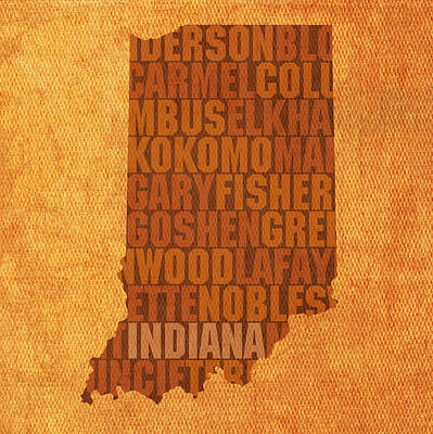 Word Art Mixed Media - Indiana State Word Art On Canvas by Design Turnpike