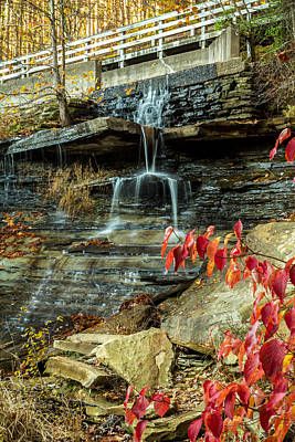Photograph - Indiana - Strahl Lake Waterfall - Brown County State Park by Ron Pate