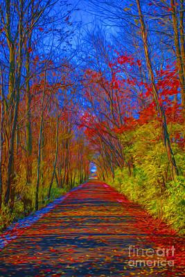 Indiana Trees Digital Oil Art Print by David Haskett