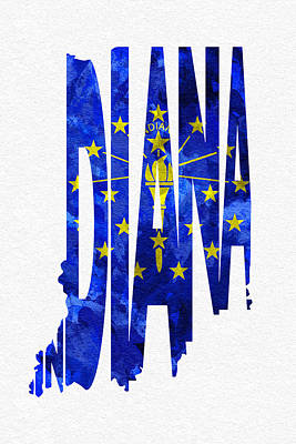 Indianapolis Digital Art - Indiana Typographic Map Flag by Ayse Deniz