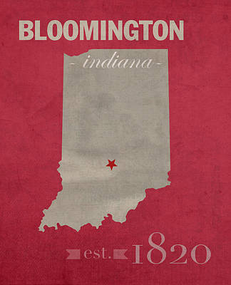 Clemson Mixed Media - Indiana University Hoosiers Bloomington College Town State Map Poster Series No 048 by Design Turnpike