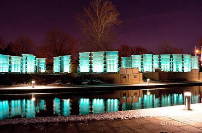 Photograph - Indiana War Memorial Night Lights by David Haskett II