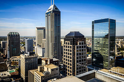 Indiana Photograph - Indianapolis Aerial Picture Of Downtown Office Buildings by Paul Velgos