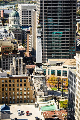 Indiana Photograph - Indianapolis Aerial Picture Of Monument Circle by Paul Velgos