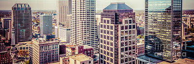Indiana Photograph - Indianapolis Aerial Retro Panorama Picture by Paul Velgos