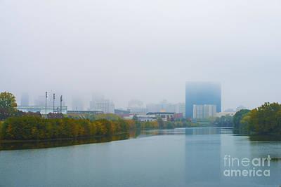 Indianapolis Autumn Skyline Fog Art Print by David Haskett