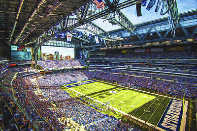 Photograph - Indianapolis Colts Lucas Oil Stadium Painted Digitally by David Haskett