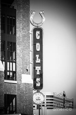 Indianapolis Photograph - Indianapolis Colts Sign Picture In Black And White by Paul Velgos