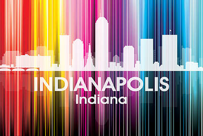Abstract Skyline Mixed Media - Indianapolis IN 2 by Angelina Vick
