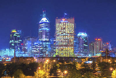 Photograph - Indianapolis Indiana Digitally Painted Night Skyline Blue 3 by David Haskett II