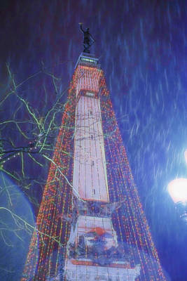 Photograph - Indianapolis Indiana Monument Circle Christmass Tree by David Haskett