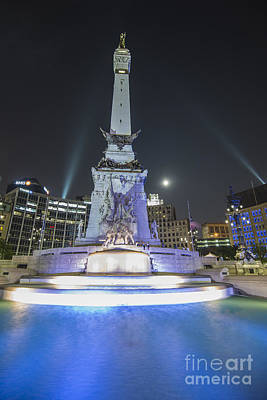 Photograph - Indianapolis Indiana Monument Circle Night 2 by David Haskett