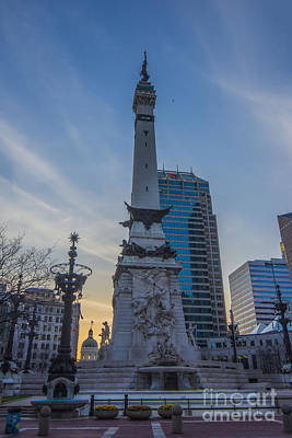 Photograph - Indianapolis Indiana Monument Circle Sunset by David Haskett