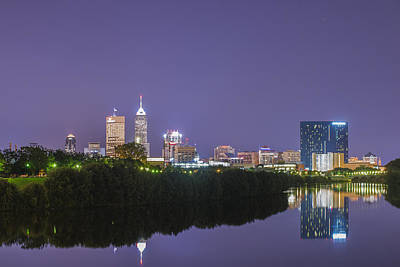 Photograph - Indianapolis Indiana Night Skyline  9889 by David Haskett