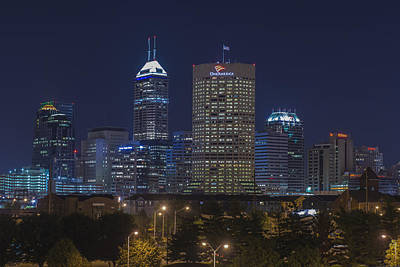 Photograph - Indianapolis Indiana Night Skyline Blue by David Haskett